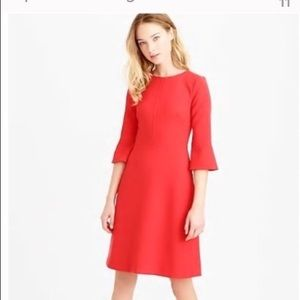 J. Crew Bell-Sleeve Crepe Dress in Papaya Size 10